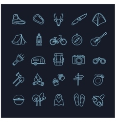 camping icons set on a black background vector image vector image