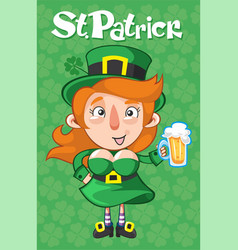 Cartoon st patrick day template vector