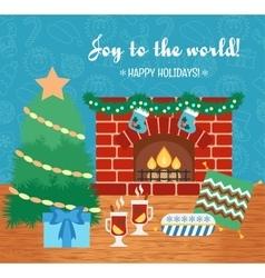 Christmas attributes Christmas gift card Joy to vector image