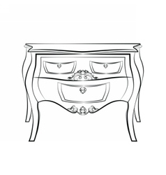Classic table furniture with ornaments vector image vector image
