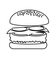 Delicious burger fast food isolated icon vector