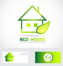 Eco real estate house green leaf logo vector image