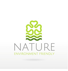 Ecological symbol logo with clover leaf water vector