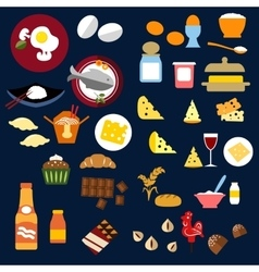 Food fish snacks and drinks flat icons vector