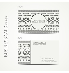 Geometric monochrome business card template with vector