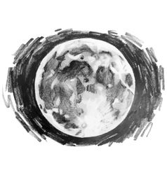 Graphic moon drawn by pencil vector