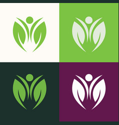 green people nature logo vector image