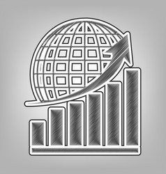 Growing graph with earth pencil sketch vector