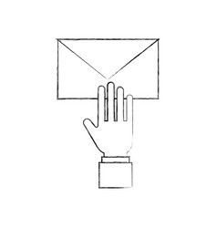 hand with email envelope message letter web symbol vector image vector image