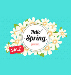 Hello spring season time sales season banner or vector