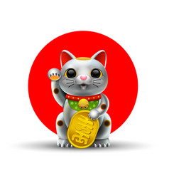 Japan lucky cat metal silver vector