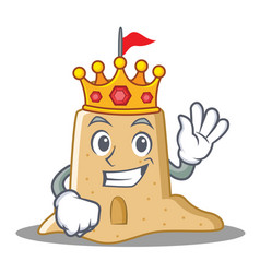 King sandcastle character cartoon style vector