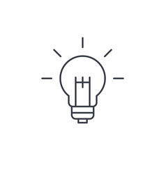 light bulb idea thin line icon linear vector image