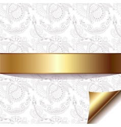 Light floral background with gold ribbon eps 10 vector