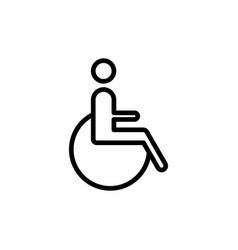 line disabled handicap icon on white background vector image vector image