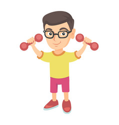 little smiling caucasian boy holding dumbbells vector image vector image