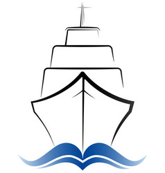 logo passenger ocean liner gray and blue color vector image vector image