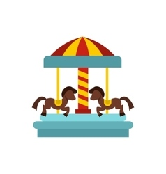 Merry go round horse ride icon flat style vector