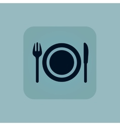 Pale blue dishware icon vector