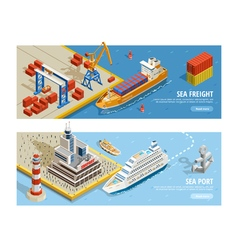 Sea transportation isometric horizontal banners vector