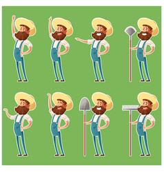 Set of farmer icons4 vector
