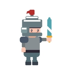 soldier male pixel video game play icon vector image vector image