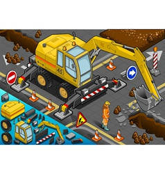 sometric Yellow Excavator with Four Arms in Front vector image vector image