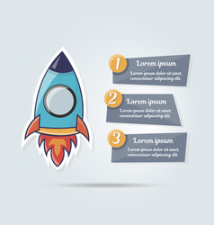 Stylish cartoon rocket for web vector