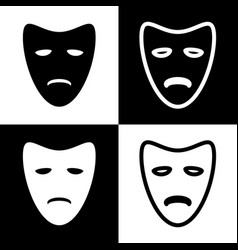 Tragedy theatrical masks black and white vector
