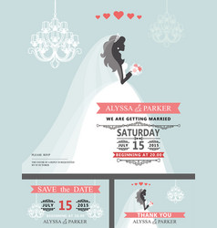 Wedding bridal shower invitationcartoon bride vector