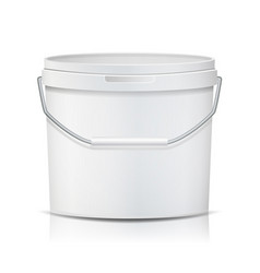 white bucket blank plastic tub bucket vector image