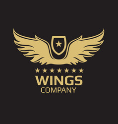 wings logo design - golden wings on black vector image