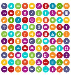 100 usa icons set color vector