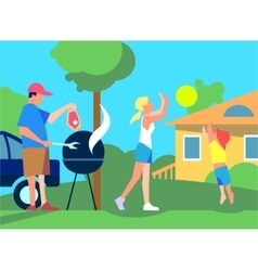 Resting with family on back yard flat style vector
