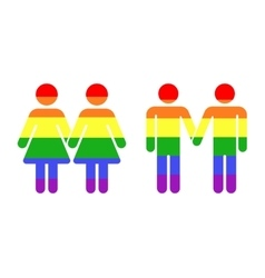 Gay lgbt rainbow icons white vector