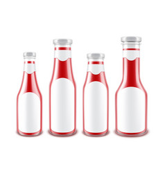 Set of blank glass red tomato ketchup bottles vector