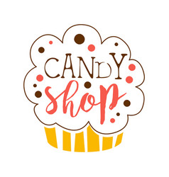 Candy shop logo sweet bakery emblem colorful vector