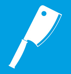 Meat knife icon white vector