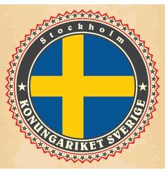 Vintage label cards of sweden flag vector