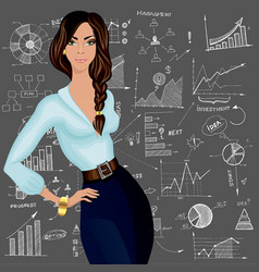 Business woman doodle background vector