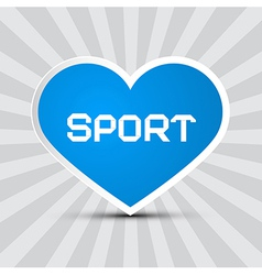 Love Sport Theme with Blue Paper Heart on Retro vector image