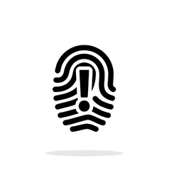 Attention sign on fingerprint icon on white vector