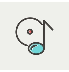 Note with phonograph record thin line icon vector