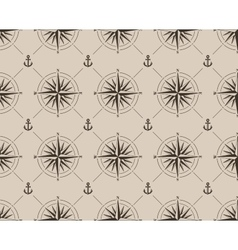 Seamless pattern with compass rose and anchor vector