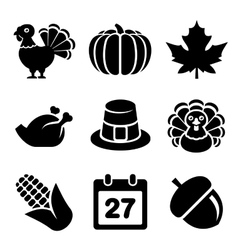 Thanksgivin icons set isolated on white background vector