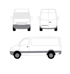 white delivery van side front view vector image