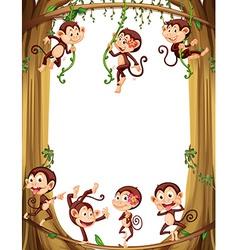 Border design with monkeys climbing the tree vector