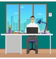 Man office manager in office interior vector