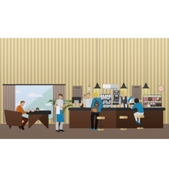 Banner with restaurant interior people vector