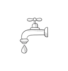 Dripping tap with drop sketch icon vector